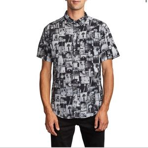 Men's RVCA Grayscale Short Sleeve Button